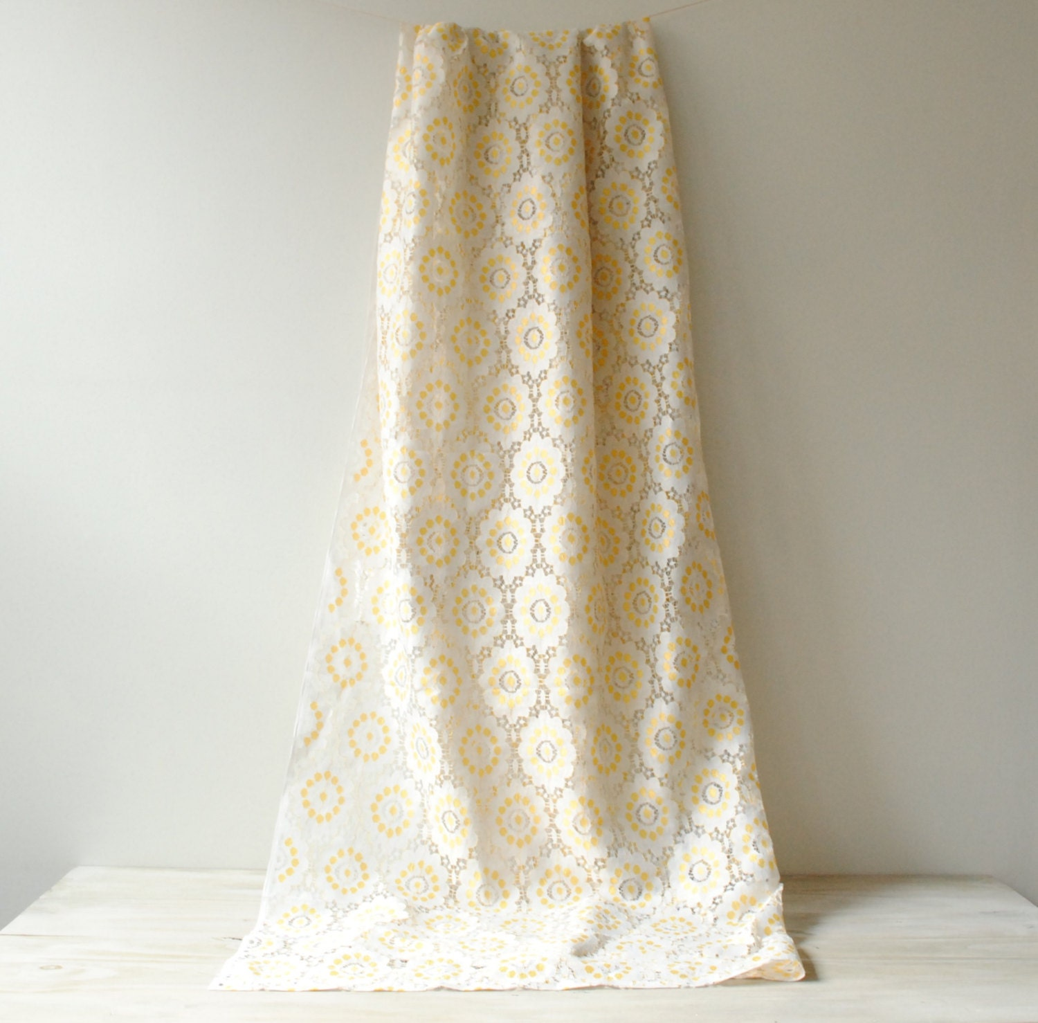 vintage lace curtains pair of yellow and white lace curtains