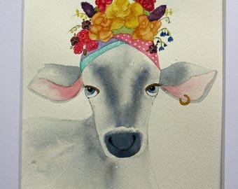 Cow and flower hat, original watercolor, grey and white calf, colorful, children's, nursery art, large art, kitchen art, pink and yellow