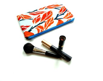 Cosmetic bag, zipper pouch, slim bag, orange blue vine cotton fabric, gift for bridesmaids, friend, Mothers day, makeup case