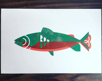 """Trout Print - 11"""" x 17"""" 2-Color Screen Print on Various French Paper Stocks, Vintage Inspired"""