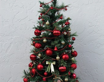 Entryway Christmas Tree, Tabletop Christmas Tree, Fully Decorated Tree, Red and Gold, 50 Clear Lights, 3 FT plus Tall, Topped in Gold