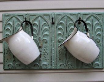 Coat Rack. Towel Rack. Kitchen Hooks. Antique Ceiling Tin & Vintage Hooks. Architectural salvage. Wall coat rack. Aqua key cap rack.
