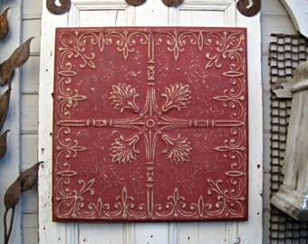 Antique pressed tin tile, 2'x2' Framed Tin Ceiling Tile.  Architecture salvage. Red metal wall decor. Vintage wall hanging.