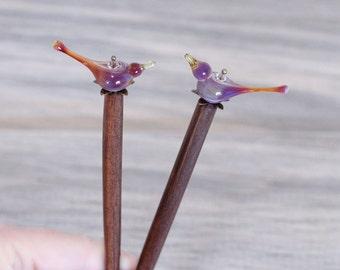 Birds hair sticks, bird hair pins, bird wooden hair stick, love birds bun pin, wood hair sticks