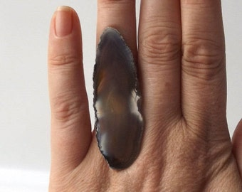 small agate ring white brown osfa statement cocktail geode fashion style unique adjustable band white crystal ameba neutral stone grey gray