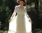 R E S E R V E D for Alayna.... do not buy... Vintage Gunne Sax Style Dress... Sheer Floral Cotton Voile and Lace... 1970s Romantic Dress