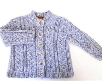 Baby Jacket Light Blue Children's cardigan Knit Cardigan Cable Knit Sweater Alpaca Cardigan Handmade Sweater Custom Color and size Knitwear