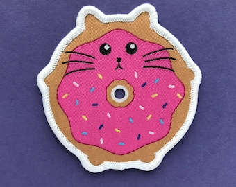 Doughnut Cat Patch - Iron on Cat Patch - Sew on Patch - Embroidered Patch - Woven Cloth Patch - Fat Kitty - Large Cat Patch