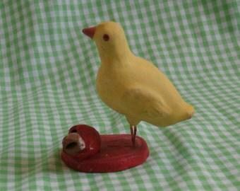 Vintage Chick Whistle Figurine, Wire Leg Terra Cotta Baby Chicken Noisemaker, Sweet Easter Decoration