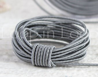 Silver Grey SILK cord, Wrapped Silk Satin Cord rope 1.5 mm thick, organic natural hand spun silk, polyester core, Jewelry Supplies (3 feet)