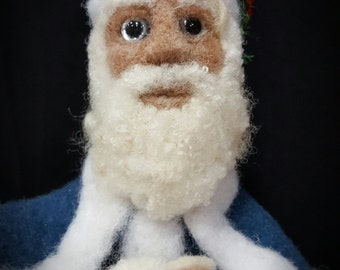 Blue Old World St. Nicholas with Sheep and Cherry Walking Stick Needle Felted Wool Sculpture