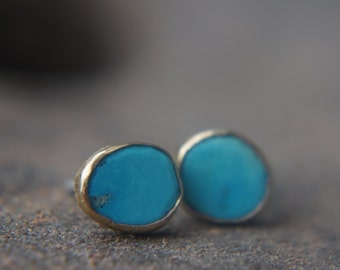 turquoise Studs-solid 24k gold-Gold Studs-stud earrings-24k gold earrings- turquoise earrings- 24k stud with stone-turquoise earrings