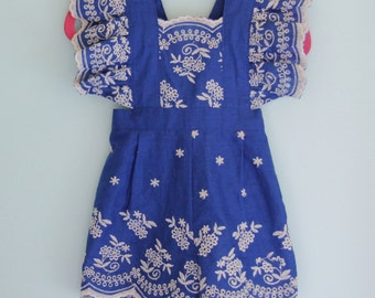 Little Girls Embroidered Eyelet Romper -OOAK