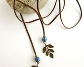 Leather Wrap Necklace - Leather Lariat Pendant - Long Beaded Necklace