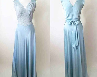 Stunning 1930's Silk Satin Bias Cut Gown with hand stitching and applique Old Hollywood Glamor Pinup Girl VLV rockabilly size medium