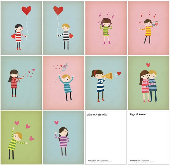 SALE - Love & Hearts Postcard Collection Set