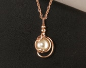 White Pearl Rose Gold Pendant Chain Necklace, Wire Wrapped Pearl Drop Pendant Rose Gold Necklace, Jewelry Gift For Her