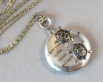 Turtles Love,Locket,Silver Locket,Turtle,Turtle Locket,Turtle Necklace,Ocean,Antique Locket,Antique,Woodland,Love You valleygirldesigns.