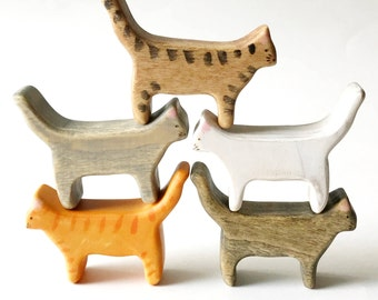 waldorf cat toy, wooden cat toy, tabby cat, cat figurine, wooden animal toys