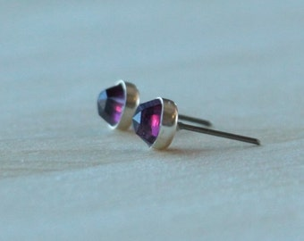Genuine Rose Cut Rhodolite Garnet 6mm - Titanium Posts & Bezels OR Niobium Posts w/ Argentium Silver Bezels - Hypoallergenic and Nickel Free