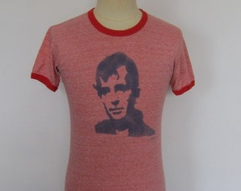 Vintage 70's Red Ringer with Stencil Graphic T-Shirt Medium
