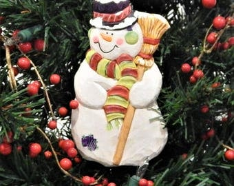 Hand carved 'Snow Before Christmas' Ornament,Snowman with broom, Frosty, tophat on Snowman, Snowman with carrot nose, Earmuff Scarf Snowman