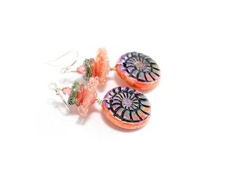 Dusty Peach Lampwork Bead Earrings. Small Dangle Earrings. Coral Glass Bead Earrings. Boho Beachy Earrings. Artisan Clay Nautilus Charms.