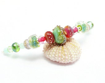 Glass Bead Necklace. Lampwork Necklace. Easter Spring Colors. High Fashion Necklace. Beach Boho Necklace. Gifts For Her. Lampwork Jewelry.