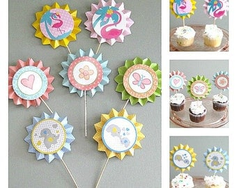 Baby Cupcake Toppers Elephant Topper Butterfly Topper Flamingo Topper Baby Girl Topper Baby Cupcake Picks Baby Shower Topper  Baby Birthday