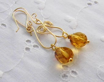 Amber Yellow Glass Earrings, Honey Yellow, Apricot Yellow, Handmade Earrings, Wire Wrapped Long Faceted Glass Earrings, Gold-filled