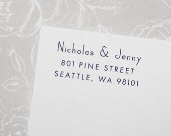 Return Address Stamp, Self-Inking Address Stamp, Custom Stamp, Personalized Stamp, Wedding Stamp, Mid Century Modern, Wood Stamp - Style #49