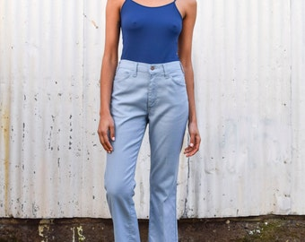 Vintage Levi's Stap-rest 1970's Sky Blue High Waisted Bell Bottom Boot Cut Pants M/L 33