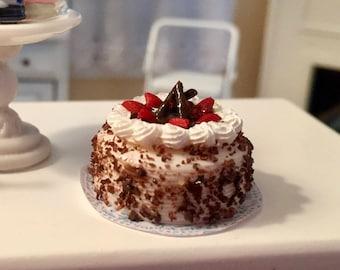 Miniature Cake, Cake with Strawberries and Whip Cream, Style 3614, Dollhouse Miniature, 1:12 Scale, Miniature Food, Mini Cake