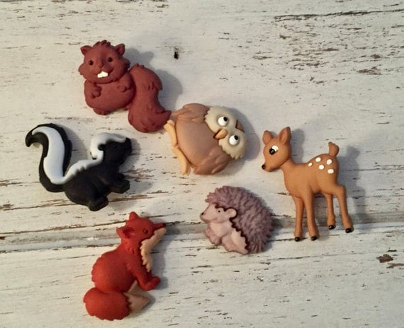 "Forest Animal Buttons, Packaged Novelty Buttons ""Forest Babies"" by Dress It Up Jesse James, Fox, Owl, Hedgehog, Skunk, Deer and Beaver"