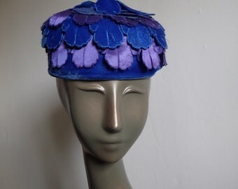 Vintage 1960's Blue Velvet and Purple Satin Pillbox Hat w/Veil - Cascading Layers of Flower Petals