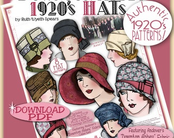 DOWNTON Abbey HAT Pattern 1920 Pdf Booklet Andover Pdf 2014-15 Ed. - Vintage 1920's Flapper Cloche Turban Brim Sew Make