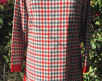 1960s Red & Grey Wool Houndstooth Plaid Dress