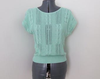 Vintage 1980s Mint Green Short Sleeve Sweater - Womens Bust 36