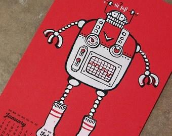 2017 Calendar: Robot with Socks screenprint