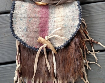 Mountain Man Possibles Bag of Thick Wool and Beaver Fur Comes With Penny Knife