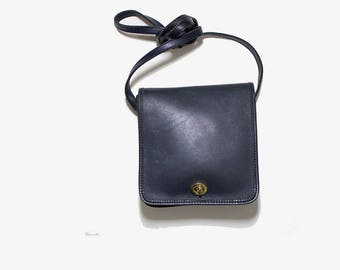 FLASH SALE Vintage Leather Satchel / Navy Satchel / Mini Leather Satchel / Mini Leather Bag / Structured Leather Purse / Crossbody Purse