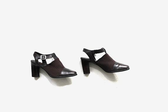 Vintage T Strap Heels 5.5 / Brown Leather Mules / Minimal Shoes