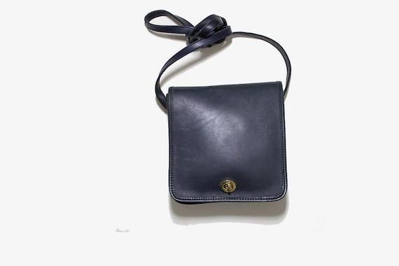 Vintage Leather Satchel / Navy Satchel / Mini Leather Satchel / Mini Leather Bag / Structured Leather Purse / Crossbody Purse
