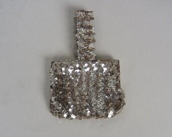 1930s silver sequin purse • vintage 30s bag • sparkly evening bag