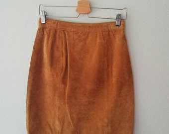 Vintage TAN SUEDE LEATHER Skirt (s-m)