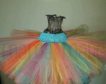 Hot Pink,Fuchsia,Turquoise, Aqua,and Lime,yellow, orange,pink & green tutu,girls tutu,flower girl tutu,birthday tutu,baby tutu,rainbow tutu