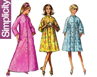 Womens Robe Pattern Simplicity 9074 1970s Vintage Raglan Sleeve Dressing Gown Sewing Pattern Size 14 Bust 36 inches