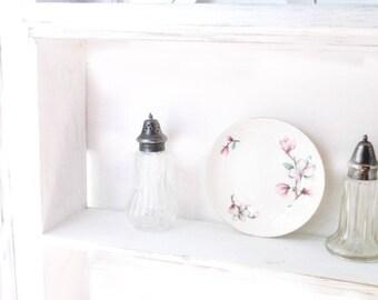 Rustic Cupboard Shelf. Shabby White Cottage Curio Shelf. Handmade Painted WOOD SHelF. Shabby Distressed.