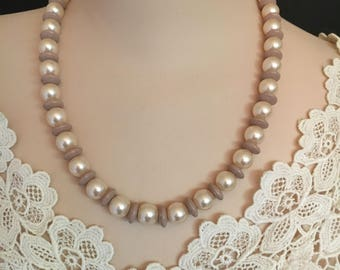 Vtg Bead Necklace - Light Brown and Pearl Like Beads