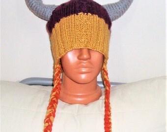 Viking hat, men's hat, man's hat, funny hat, party hat, adult men's hat, knit viking hat, vine, gold, grey viking horns hat